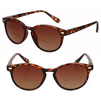 """The Brilliance"" 2 Pair Polarized Round Frame Bifocal Sunglasses for Men and Women - Tortoise/Tortoise - 3.00"
