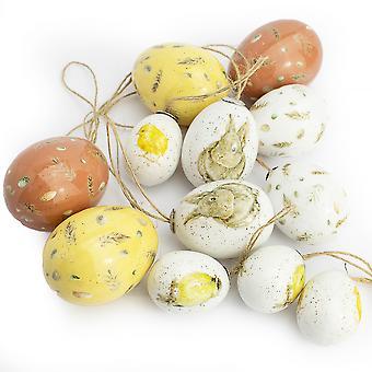 12 pack Mixed Size Akwarelowy Królik i Pisklę Wiszące Jajka na Drzewa Wielkanocne