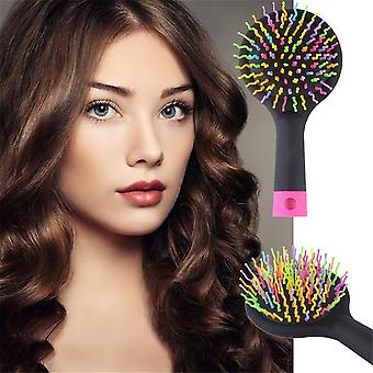 Dúhový objem Anti-statický vlasov curl rovný masáž hrebeň Kefa zrkadlo