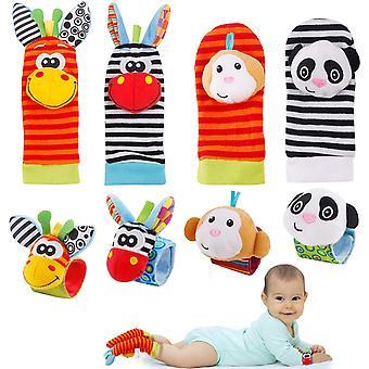 8pcs Baby Wrist Rattles & Footfinder Set  Baby Rattles Toys