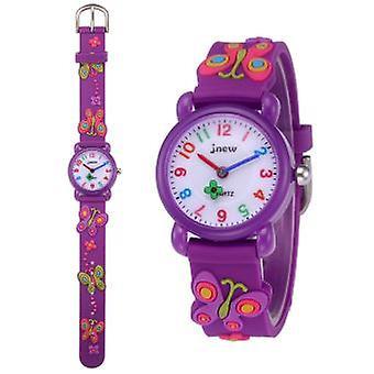 Vízálló Gyermekkvart Óra-aranyos 3d Pillangó Minta-lila