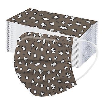 50st Vuxen Tre lager Engångs Dammsäker Skyddande Leopard Print Mask