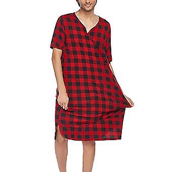 Bărbați cu mânecă scurtă Baggy Nightdress în carouri pijamale Sleepwear Nightwear