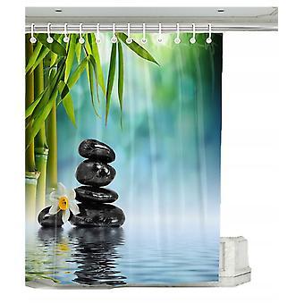 Cortina de ducha con 12 anillos de fijación, 180x200 cm, plantas verdes (b)