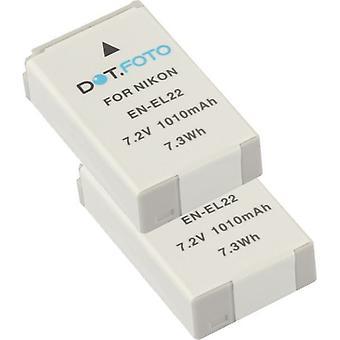 2 x batería de reemplazo de Nikon EN-EL22 de Dot.Foto - 7.2v / 1010mAh