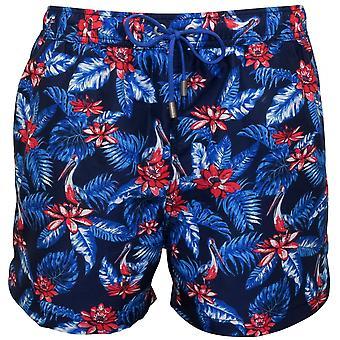 Жокей яркие цветочные плавать шорты, военно-морского флота с синий/красный