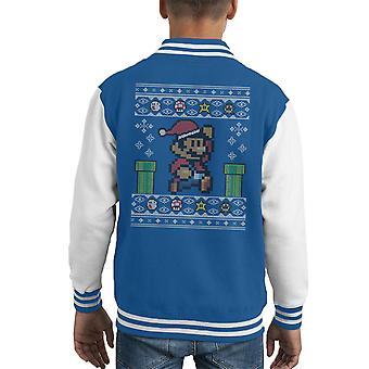 Christmas Super Mario Pixel strikkes barneklubb Varsity jakken