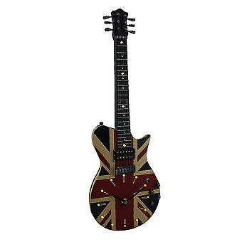Stringing Time Union Jack British Flag 16 LED Electric Guitar Wall Clock 21 In.