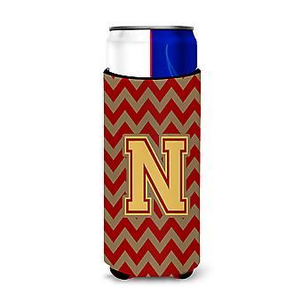 Letter N Chevron granaat en gouden Ultra drank isolatoren voor slanke blikjes