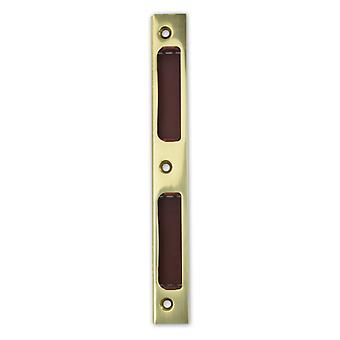 Premium M4TEC ZB8 Polished Lacquered Brass Strike Locking Door Plate – Angled With Plastic Insert - Sturdy, Durable & Easy To Install – DIN R/L – Suitable For Single-Turn Interior & WC/Bathroom Locks