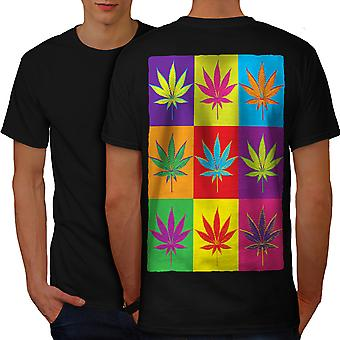 Weed Cannabis Leaf Rasta Men BlackT-shirt Back | Wellcoda
