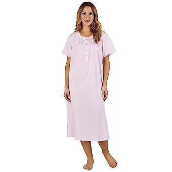 De kant en de Pintucks roze 100% katoenen Night Gown Lounge Slenderella ND1271 vrouwen korte mouwen Pyama