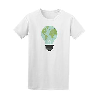 Eco Light Bulb Earth Map Graphic Tee - Image by Shutterstock