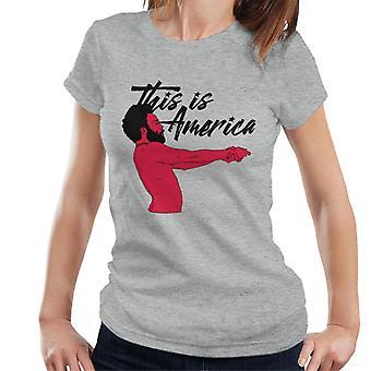Kinderachtig Gambino dit is Amerika Black tekst Women's T-Shirt
