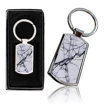 i-Tronixs - Premium Marble Design Chrome Metal Keyring with Free Gift Box (2-Pack) - 0032