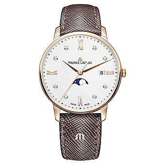 Maurice Lacroix Eliros Moonphase Brown Leather Strap Rose Gold Plated EL1096-PVP01-150-1 Watch