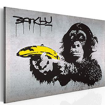 Canvas Print - Stop or the monkey will shoot! (Banksy)