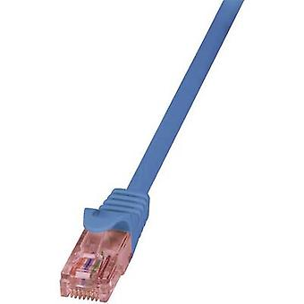 LogiLink RJ45-nätverk kabel CAT 6 U/UTP 2,00 m blå flamhämmande, inkl spärr