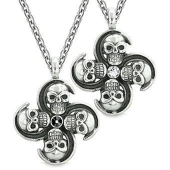 Overnaturlige kraniet Amulet beføjelser kærlighed par bedste venner sort hvide krystaller vedhæng halskæde