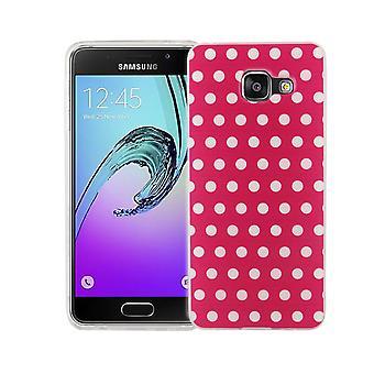 Cas de téléphone portable pour Samsung Galaxy A3 2016 la couverture de l'affaire sac de protection motif slim silicone TPU polka dot rose