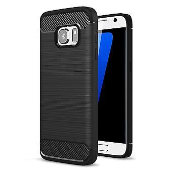 Samsung Galaxy S7 TPU Case Carbon Fiber Optik Brushed Schutz Hülle Schwarz