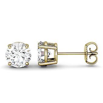 14K geel gouden Moissanite door Charles & Colvard ronde Stud Earrings Stud Earrings