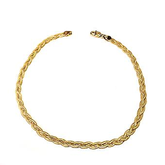 14K Yellow Gold Diamond Cut Braided Fox Chain Anklet, 10