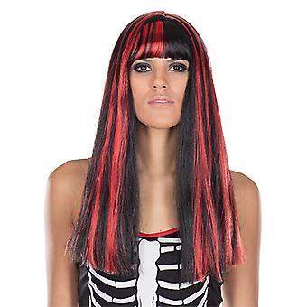 Electra noir longue perruque rouge dames mèches de cheveux poney accessoire Carnaval