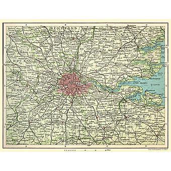 Järnväg karta i omgivningar av London 1908 1000 bit pussel 690 x 480 mm (jhg)