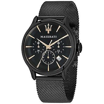 Maserati Mens Epoca 42mm   Black Dial   Black Mesh Bracelet R8873618006 Watch