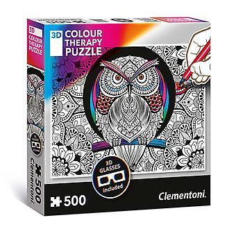 Clementoni Kleur je eigen 3D Puzzel - Uil, 500st.