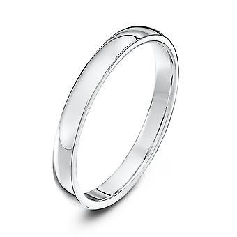 Bague de mariage alliances Star 9ct or blanc lourds Cour forme 2,5 mm