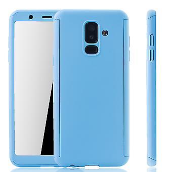 Samsung Galaxy A6+ Plus 2018 Handy-Hülle Schutz-Case Full-Cover Panzer Schutz Glas Hellblau