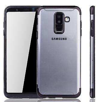 Cell phone case för Samsung Galaxy A6 plus svart - klart - TPU Silikon fall tillbaka täcka skyddande omslag i transparent / glansig edge svart