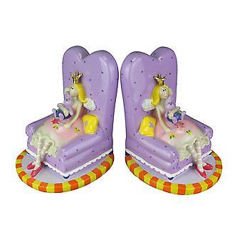 Märchenprinzessin und Teddybär auf 2er-Sofa Buchstützen Set