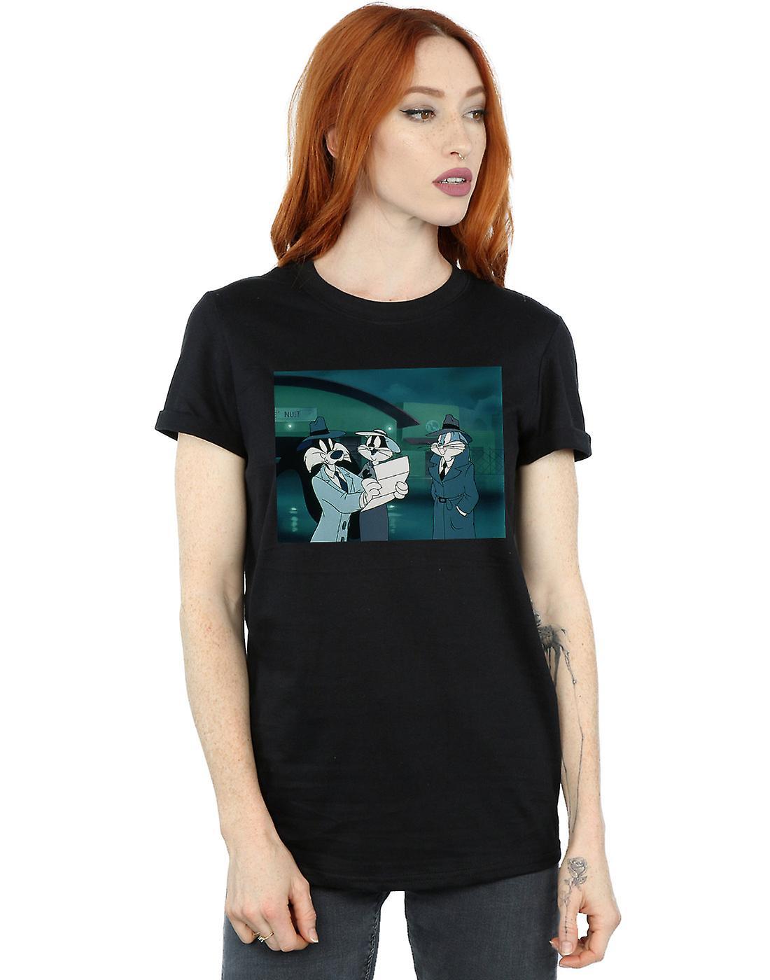 Looney Tunes Women's Bugs Bunny Sylvester Letter Boyfriend Fit T-Shirt