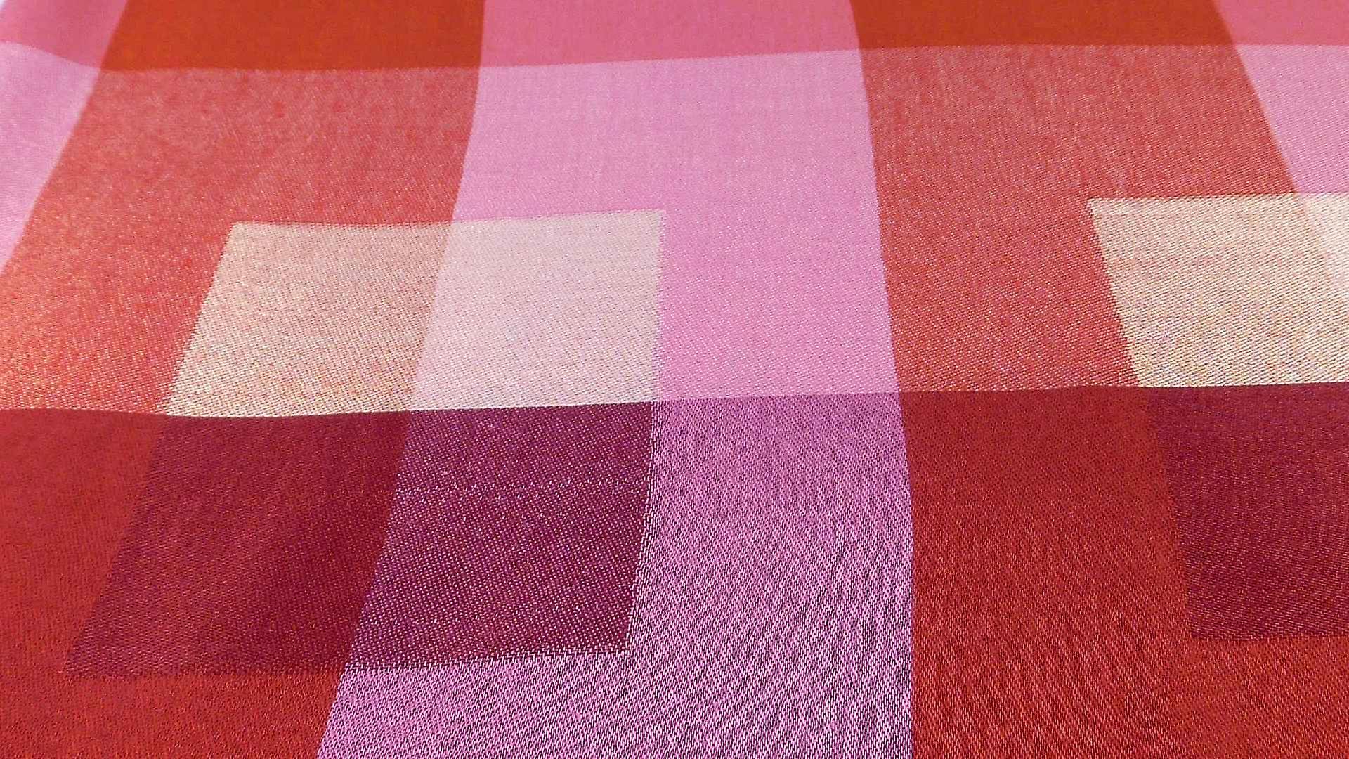 Premium Silk Stole Mondrian Pattern Red & Pink Colourway by Pashmina & Silk