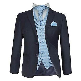 5 PC Boys Wedding, Prom, Dinner Suit, Navy & Blue Formal Cravat Suit