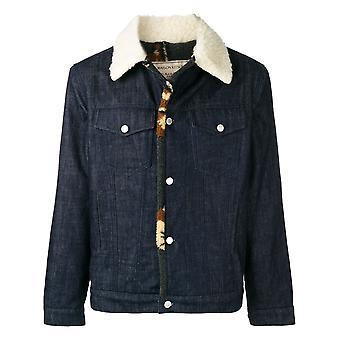 Maison Kitsuné Bm02204bt1402blue Men's Blue Cotton Outerwear Jacket