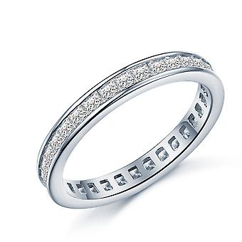 925 Sterling Silver Princess Cut Full Eternity Band Ring
