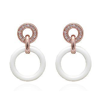 Ah! Biżuteria Drop Hoop Crystal ceramiczne z Swarovski kolczyki