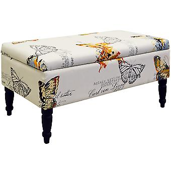 Butterfly - Storage Ottoman Stool / Blanket Box / Padded Trunk - Black / Cream / Multi