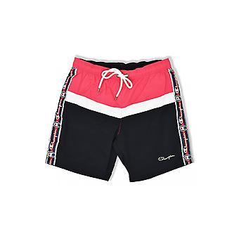 Champion Taped Beach Shorts (Azalea/White/Black)