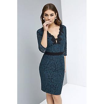 Küçük Metresi Bayan / Bayan Dantel Aplike Bodycon Elbise
