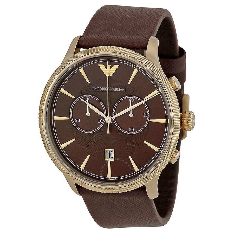 Emporio Armani Ar1793 Classic Men's Brown Leather Chronograph Watch