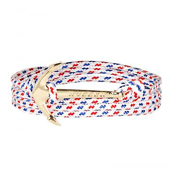 Holler Mosley  Gold Polished Anchor / White, Blue and Red Paracord Bracelet HLB-02GDP-P01