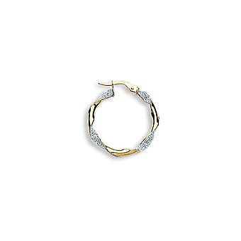 Eternity 9ct Gold Large Round Glitter Twisted Créole Hoop Boucles d'oreilles