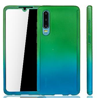Huawei P30 etui na telefon futerał ochronny Pełna osłona zbiornika ochrona szkła zielony/niebieski