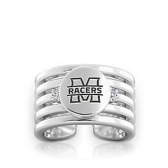Murray State University Engraved Sterling Silver Diamond Multiband Cuff Ring