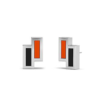Oregon State University Sterling Silver Asymmetric Enamel Stud Earrings In Orange and Black